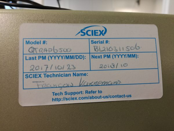 Serial number of Sciex 6500
